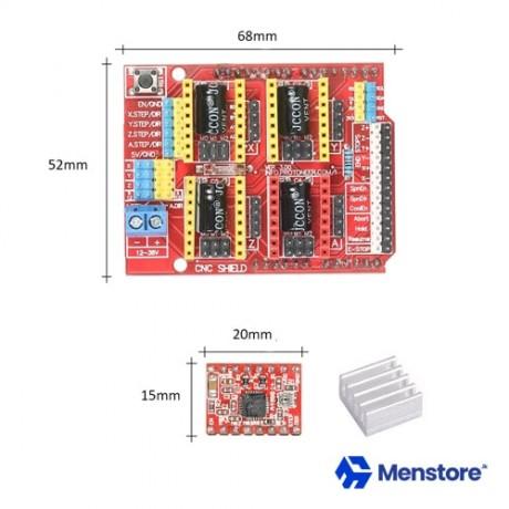 CNC Shield V3.0 Expansion Board + 4Pcs A4988 Stepper Motor Drivers
