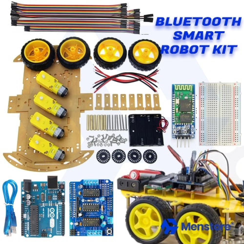 Bluetooth Controlled 4WD Smart Robot Car Kit - Pack A
