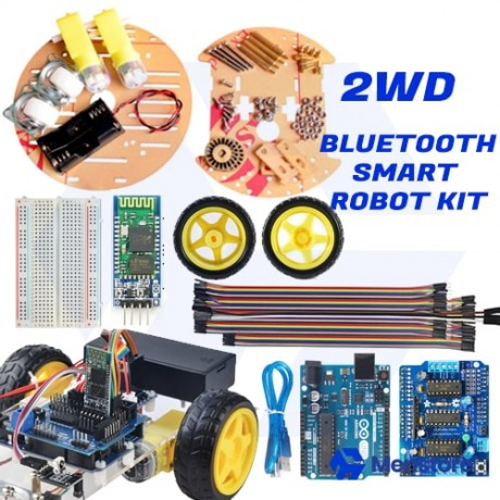 Bluetooth Controlled 2WD Round Double-Deck Smart Robot Car Kit - Pack B