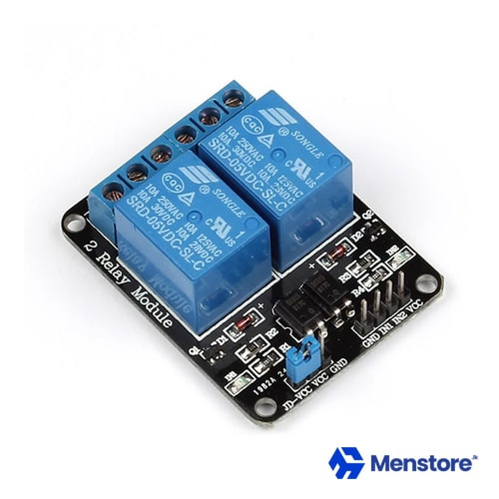 2 Channel Relay Module with Opto-Isolator Protection (5V DC)