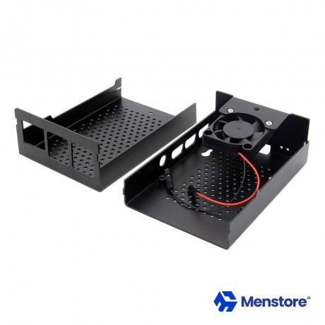 Raspberry Pi 4 Black Metal Enclosure Box with Cooling Fan